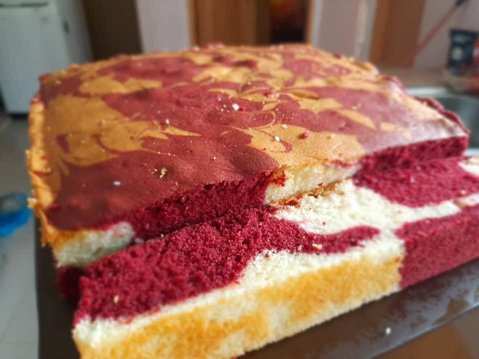 Sedapnya Kek Marble Red Velvet Cheese Pesona Pengantin